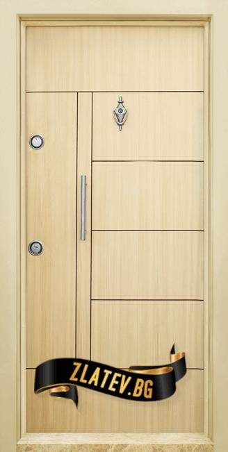 Блиндирана входна врата модел T-587, панел Зебра 02