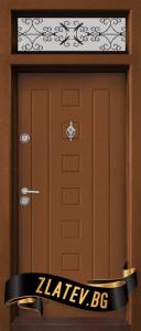 Еднокрилна входна врата T-712 - цвят Златен дъб