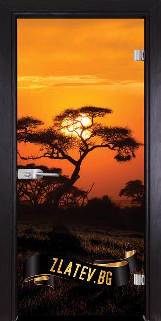 Стъклена интериорна врата Print G 13-17 с каса Венге