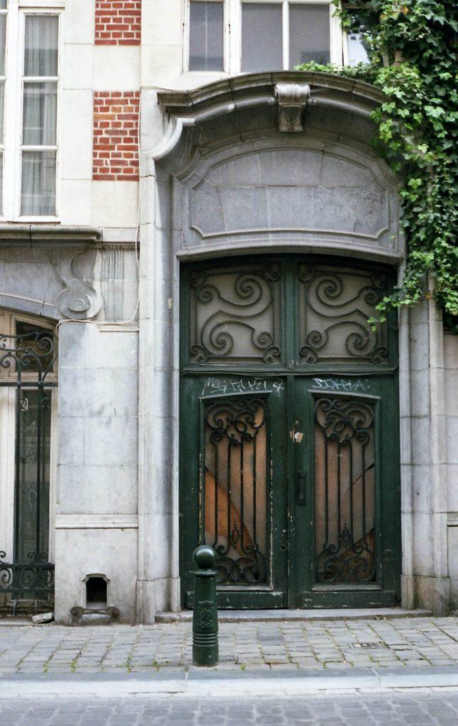 closed green metal gate 204346
