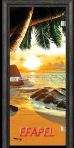 Стъклена интериорна врата Print G 13 14 Beach Sunset O